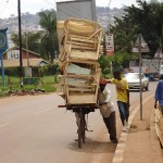 Kampala town, transporting some furniture